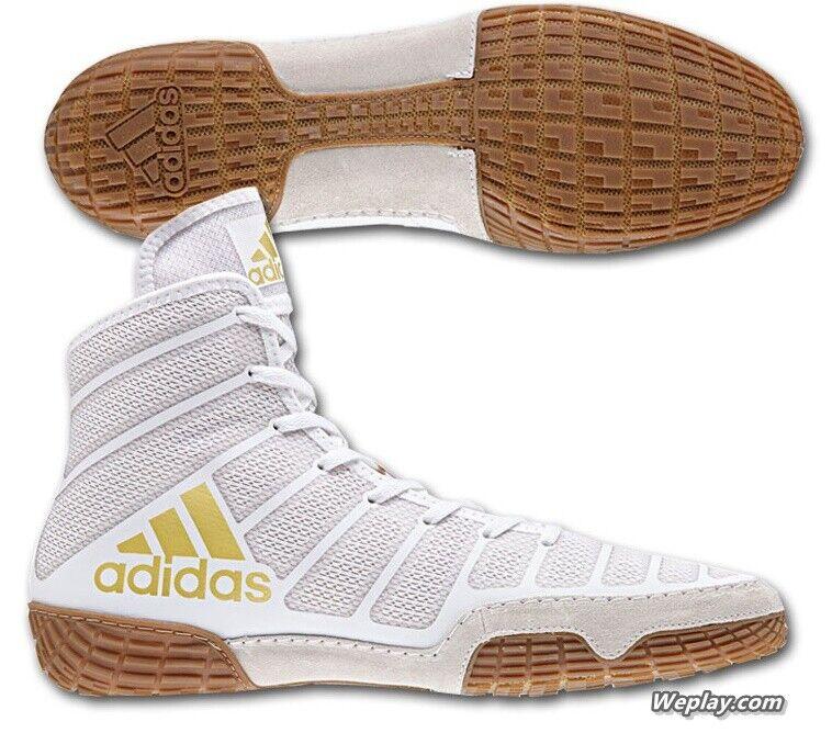 Adidas Adizero Varner MEN'S Wrestling Shoes, White/Vegas Gold  DA9891 NEW!