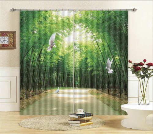 Bambù Di Piccione Bianco Verde 3D Tenda Bloccare Foto Stampa Tendaggio Drappo Te