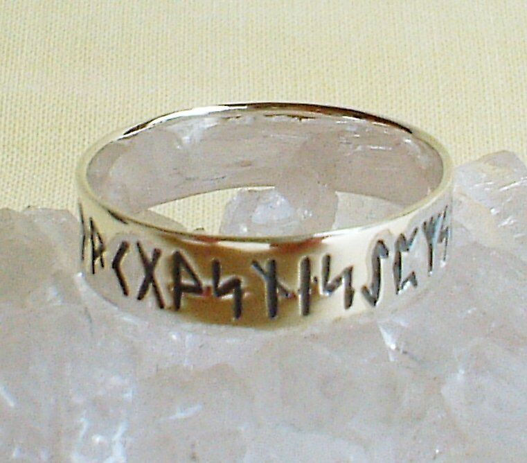 Polished Lightweight 925 Sterling Silver Rune~Ring~Wicca~Norse~Pagan Jewellery