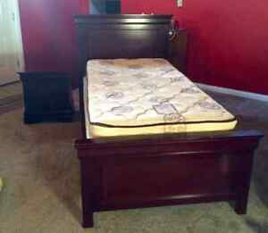 Twin Solid Dark Wood Bed and Nightstand