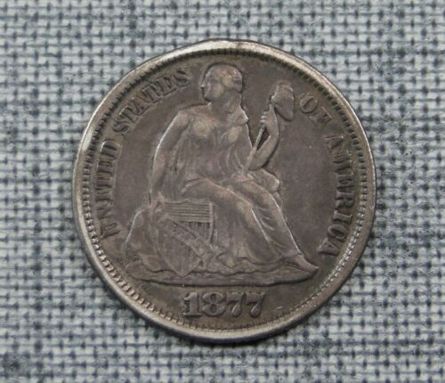 1877 SILVER SEATED LIBERTY DIME ~ EXCELLENT LOVE TOKEN