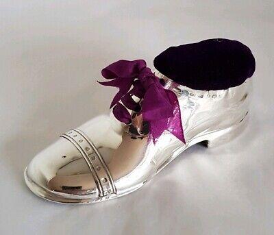 Edwardian Pincushion in the Shape of a Ladies Brogue Shoe Rare Design.