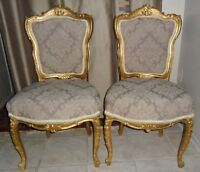 Pair of Louis 14th style Antique side chairs w Real Gold Leaf.