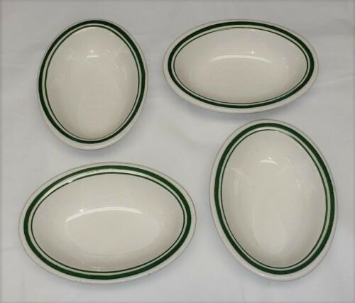 "Lot of 4 Buffalo China Oval Berry Bowls White Green Stripe Restaurant 5.25"" long"