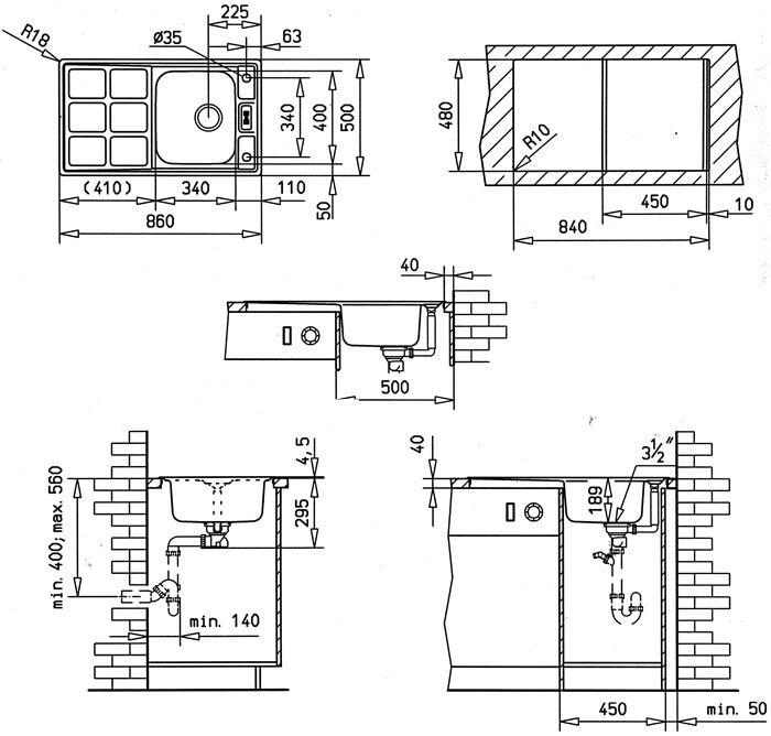 Design Einbauspüle Teka Cuadro 45 Microtextur Spüle  ~ Spülbecken Teka