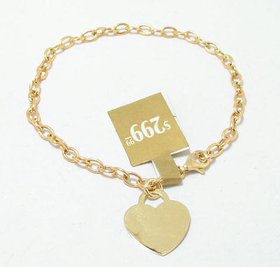 (Engravable Heart Tag Oval Link Charm Bracelet Lobster Lock Real 14K Yellow Gold )
