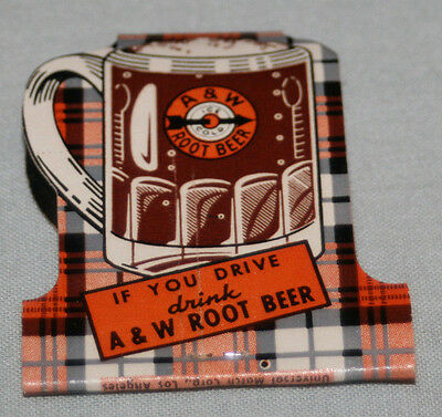 ORIGINAL 1950s A&W DRIVE-IN Root Beer RESTAURANT UNSTRUCK MATCH BOOK matches