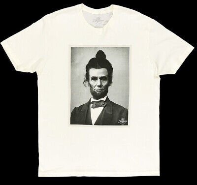 Abraham Lincoln Man Bun Ecru T-Shirt Tee Shirt M Medium NWT (Abraham Lincoln, Kid)