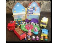 Bundle Peppa Pig house van play fire figures