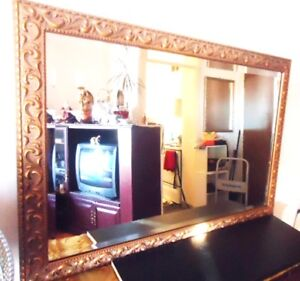 Antique Gold Ornate Beveled Wall Mirror - Wood Frame