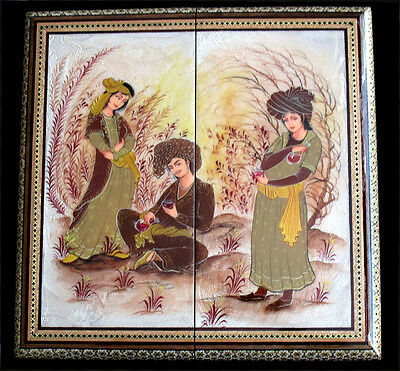 Persian Backgammon Set Moaraq Painting Omar Khayyam Imagery 2055