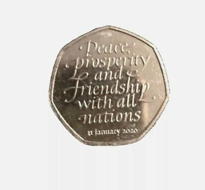 Rare Brexit 50p Peace,Prosperity and Friendship with all nations 2020