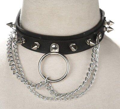 """Collier de soumise en """"cuir"""" avec clous, anneau et chaînettes / SM  / Punk"""