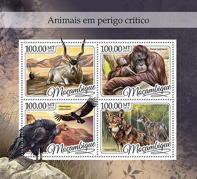 Mozambique 2016 MNH Endangered Wild Animals 4v M/S Vultures Orangutans Stamps