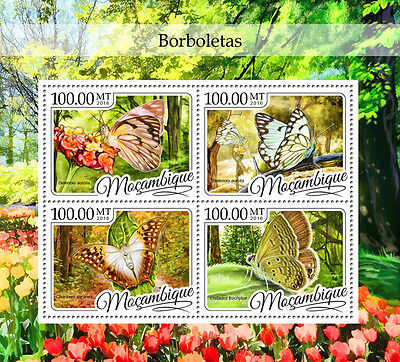 Mozambique 2016 MNH Butterflies 4v M/S Butterfly Insects Stamps