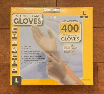 Kirkland Large Nitrile Disposable Exam Gloves 2 X 200 Total 400 Latex Free