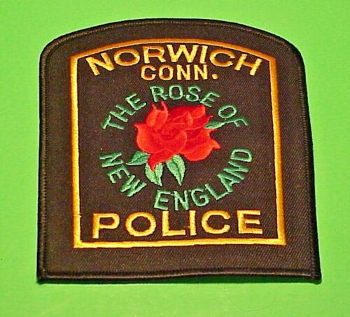 """NORWICH  CONNECTICUT  CT THE ROSE OF NEW ENGLAND  ( RED ROSE )  5""""  POLICE PATCH"""