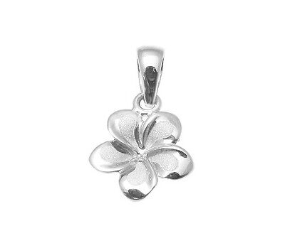 9MM SOLID 14K WHITE GOLD HAWAIIAN FANCY PLUMERIA FLOWER CHARM - 14k White Gold Charm