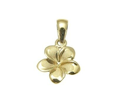 - 9MM SOLID 14K YELLOW GOLD HAWAIIAN FANCY TROPICAL PLUMERIA FLOWER CHARM PENDANT