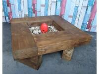 Newly Made Rustic Pitch Pine Coffee Table with Pebbles - UK Delivery