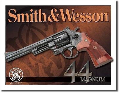 Smith & Wesson 44 Magnum Revolver TIN SIGN Gun Vintage Poster Wall Decor
