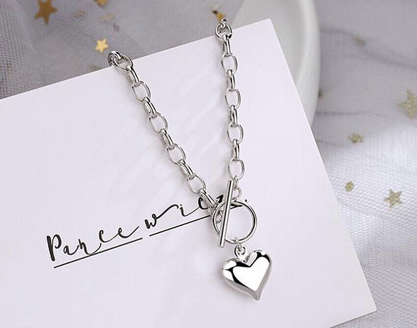 Jewellery - Heart Pendant 925 Sterling Silver Plated Chain Necklace Bracelet Women Jewellery