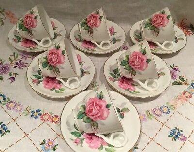 *SET OF 6 VINTAGE ROYAL STAFFORD 🌸 PINK ROSE BONE CHINA TEA CUPS + SAUCERS*