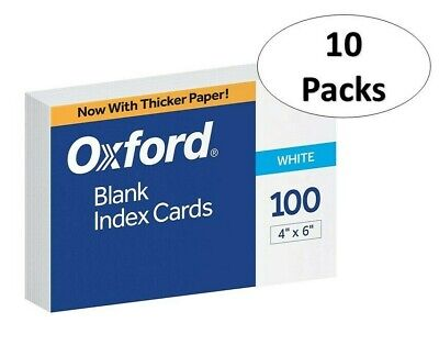 Oxford 40 4 X 6 Blank Index Cards - White 100pack 10 Pack
