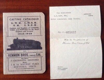 Casting Catalogue - Model Railways - GWR, LMSR, SR, LNER - Kennington Bros 1948