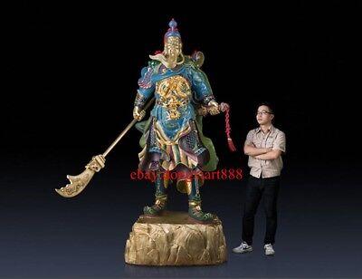 230 CM Chinese Art Deco Brass Dragon Guan Gong warrior soldier Buddha sculpture