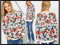 ATMOSPHERE PRIMARK Brand New Sweatshirt with All Over Mickey Print size 10