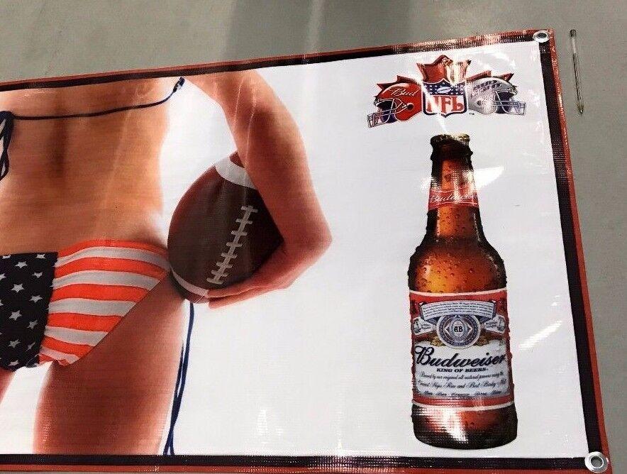 百威啤酒海报足球美国国旗比基尼女孩旗帜瓶盖橄榄球