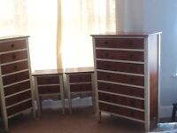 Quality bedroom furniture set, chest of drawers, tall boy & 2 bedside tables.