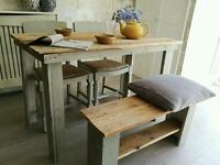 Slate table and matching bench