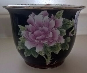 Vintage Chinese Fish Bowl Planter Black Floral Noire Fishbowl