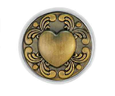 BUY 4, GET 5TH $6.95 SNAP FREE GINGER SNAPS™ BRASS TATTOO HEART Jewelry