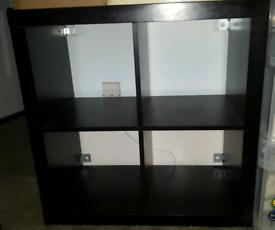 CUBE - 4 Cubby Square Display Shelves / Vinyl LP Record Storage - Dark