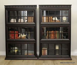 Pair of Barrister Triple Bookcases - Cognac by Bombay Co.