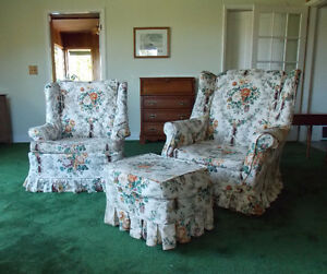wing back chairs and ottoman