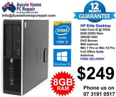 i5 HP Elite, Huge 8GB Ram, 250GB HDD. DVDRW, WIFI, Win 10 Pro.