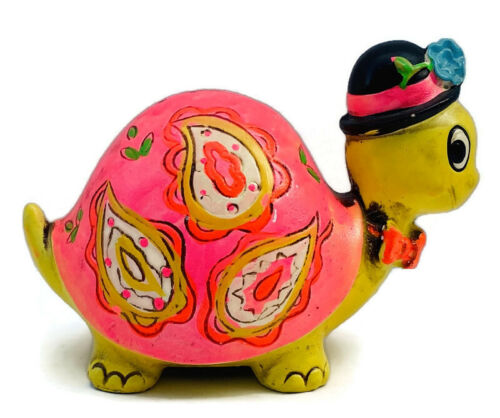 VINTAGE 1968 HOLIDAY FAIR PINK & YELLOW TURTLE BANK FLORAL with STOPPER JAPAN