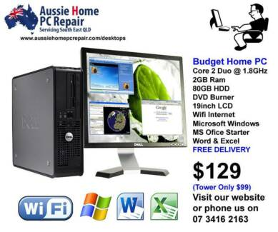 WINDOWS 7, MS WORD & EXCEL, DVD BURNER, ANTIVIRUS + WARRANTY Loganlea Logan Area Preview