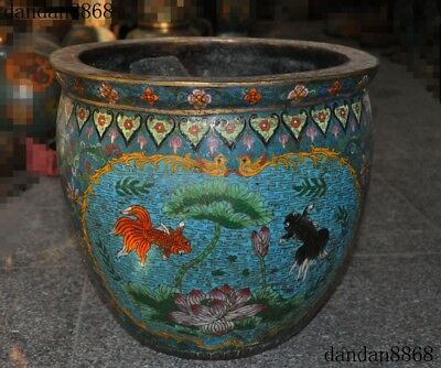 Chinese Bronze Cloisonne Wealthy Dynasty Fish Goldfish Statue Cylinder Fish tank