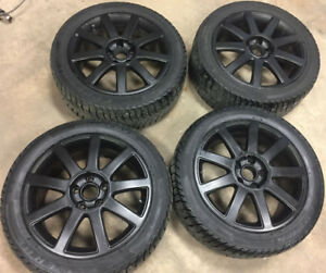 5X112 Rims with Almost New Studded Federal 225/45/17 Tires