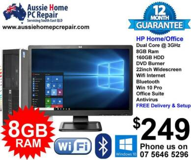 "HOME / OFFICE PC w HUGE 22"" LCD, S/FAST 8GB RAM, OFFICE, A/VIRUS."