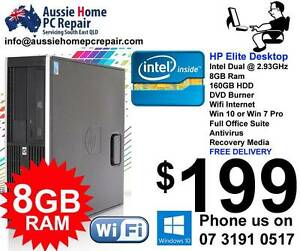 8GB RAM, HP FAST PC. WIFI, BLUETOOTH, OFFICE SUITE, WIN 7 OR 10 Bethania Logan Area Preview