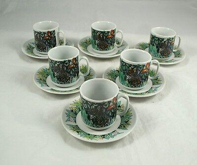 6 Espressotassen mit Dschungel Dekor, unbenutzt