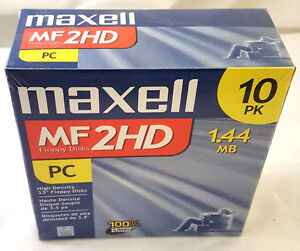 """NEW 10 Pack Maxell MF2HD 1.44MB FD Floppy Disk 3.5"""" PC High"""