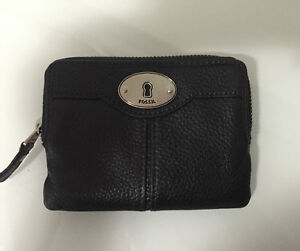 Fossil Maddox Black Leather Coin Purse