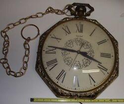 Vintage  GOLD UNITED 10 INCH POCKET WATCH CLOCK  Wall Hanging Works Fine